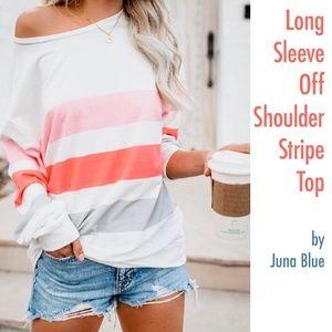 Long Sleeve Off Shoulder Stripe Top